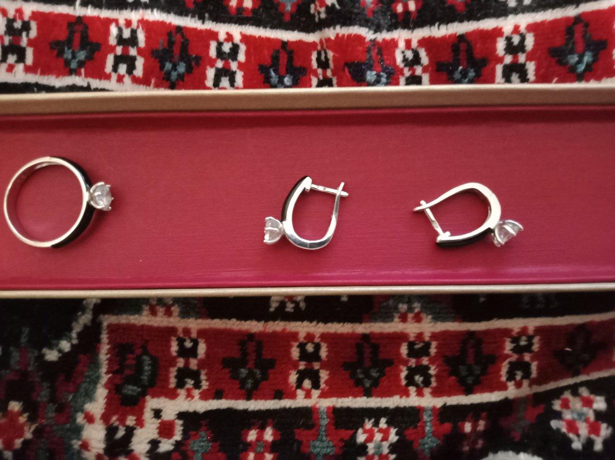 Серьги и кольцо серебряные с фенитом- отличное качество и хорошая цена!