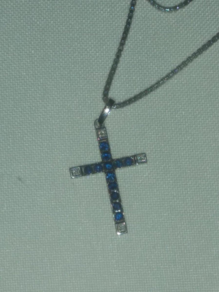 Крестик с сапфирами
