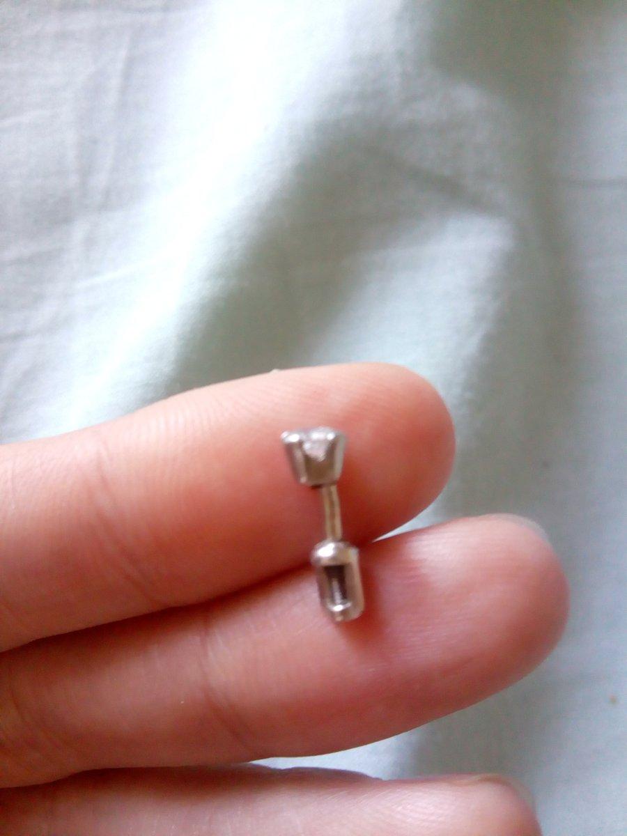 Серебряная серьга с фианитом