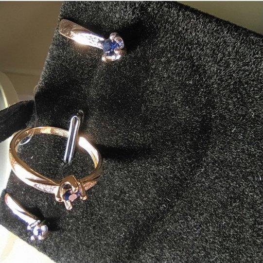 Кольцо золотое с сапфиром 585