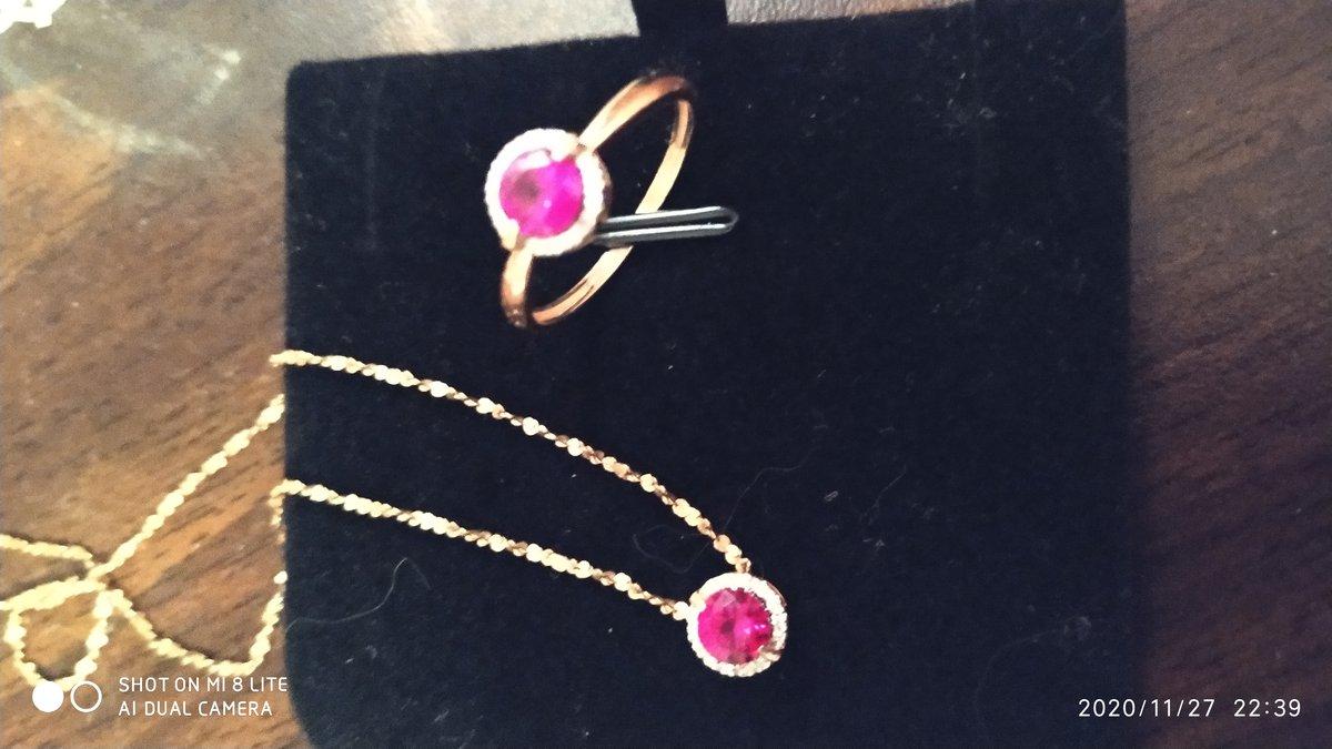 Подвеска бегунок с рубином и бриллиантами
