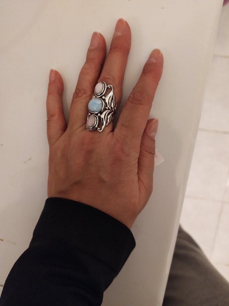 Кольцо с ларимаром и опалом