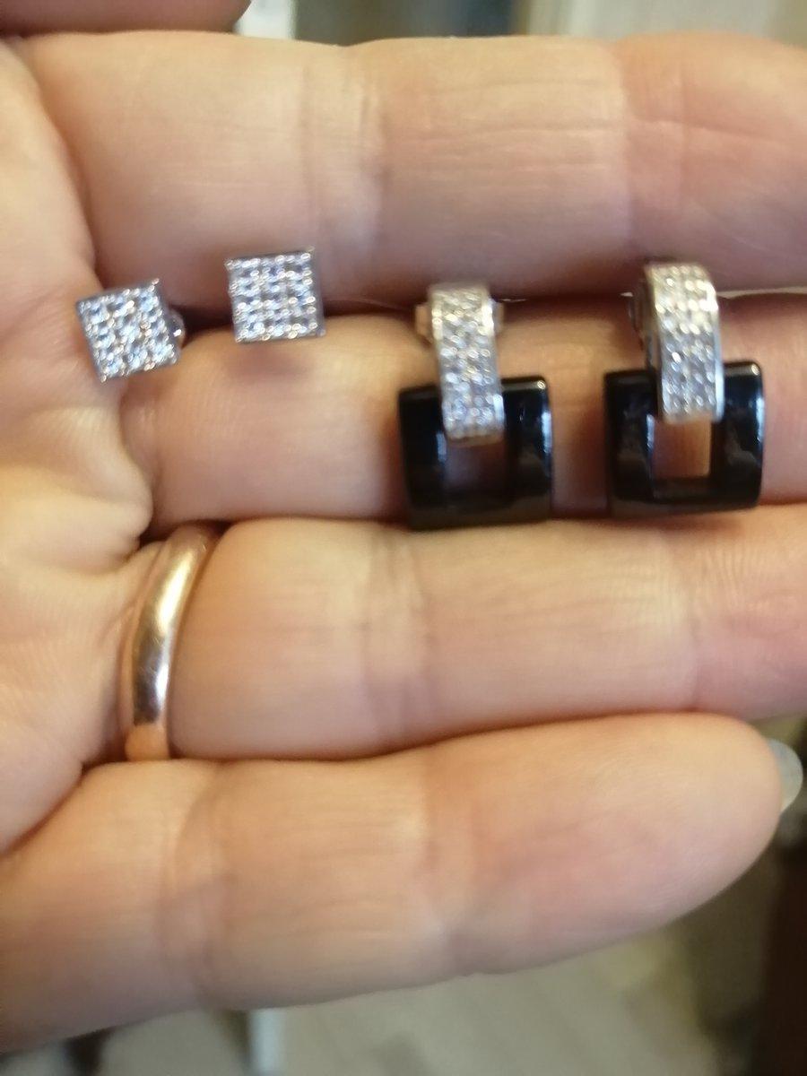 Серебряные серьги с керамической и фионитами