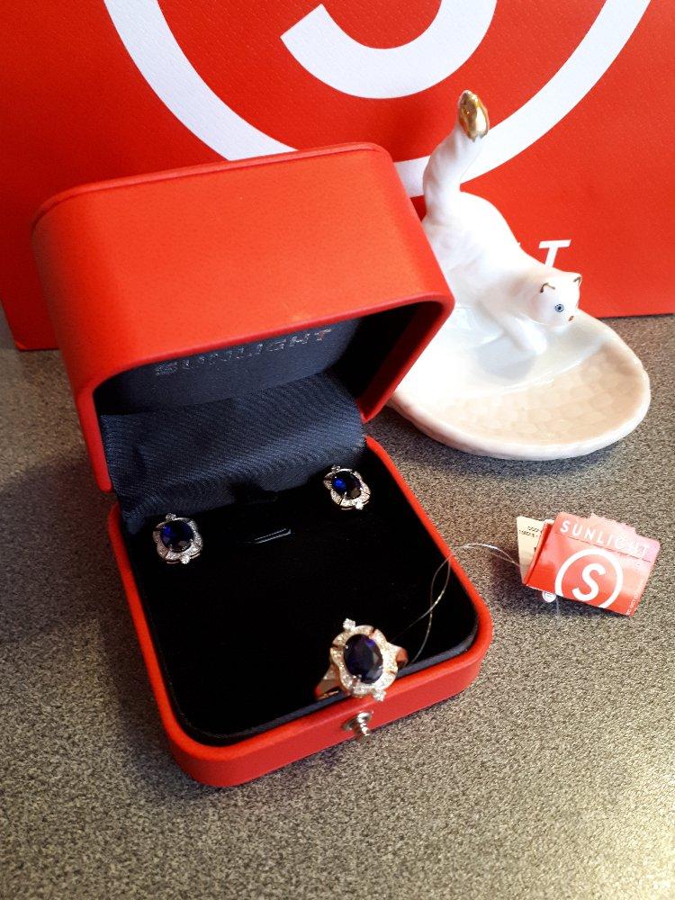 Кольцо с бриллиантами и сапфиром-роскошь и элегантность!!!