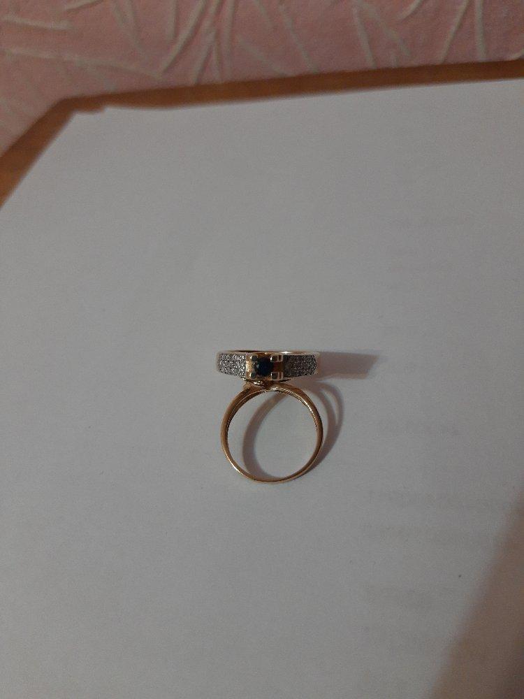 Золотое кольцо с сапфировое и бриллиантами