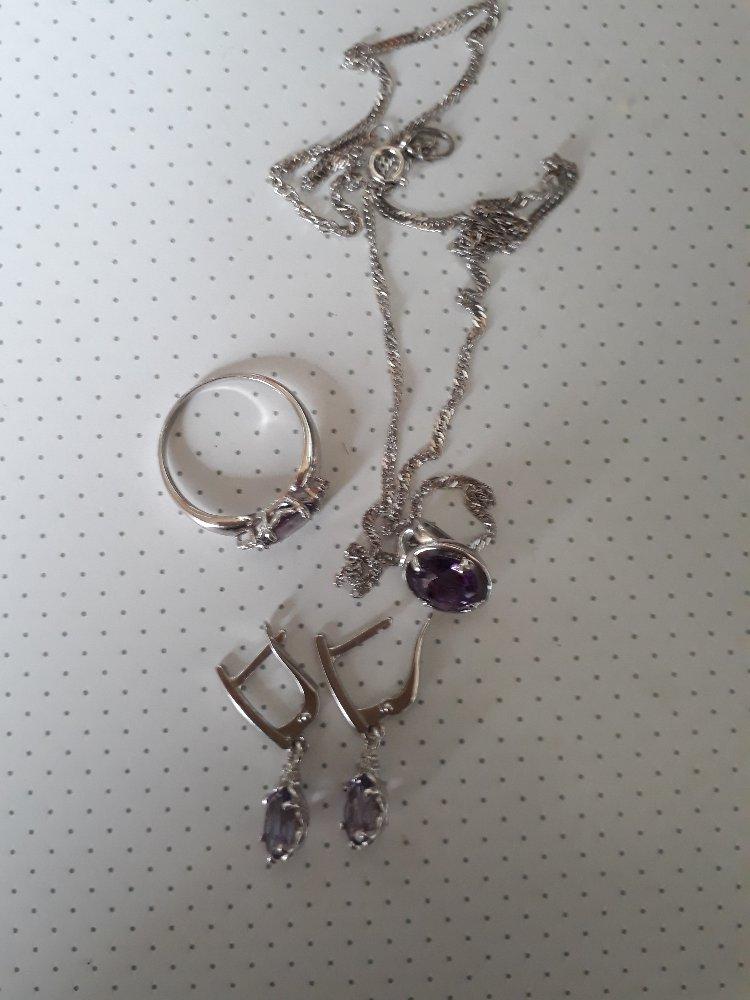Серебряная подвеска с аметистом