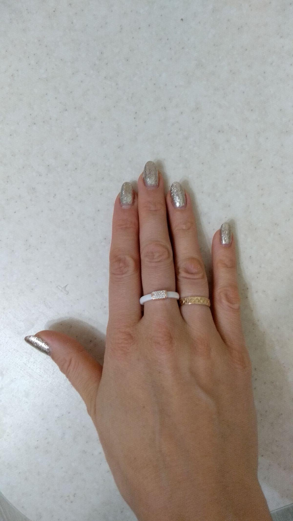 Кольцо из керамики, серебра и фианитов