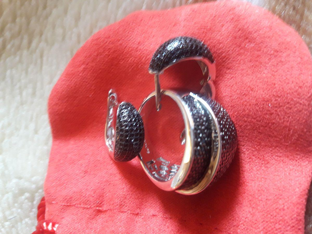 Комплект из серебра с чёрными фианитами