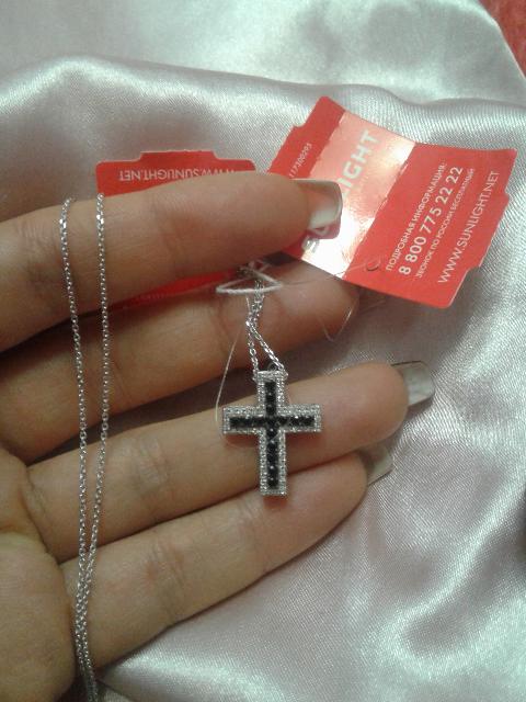 Крестик с сапфирами и бриллиантами