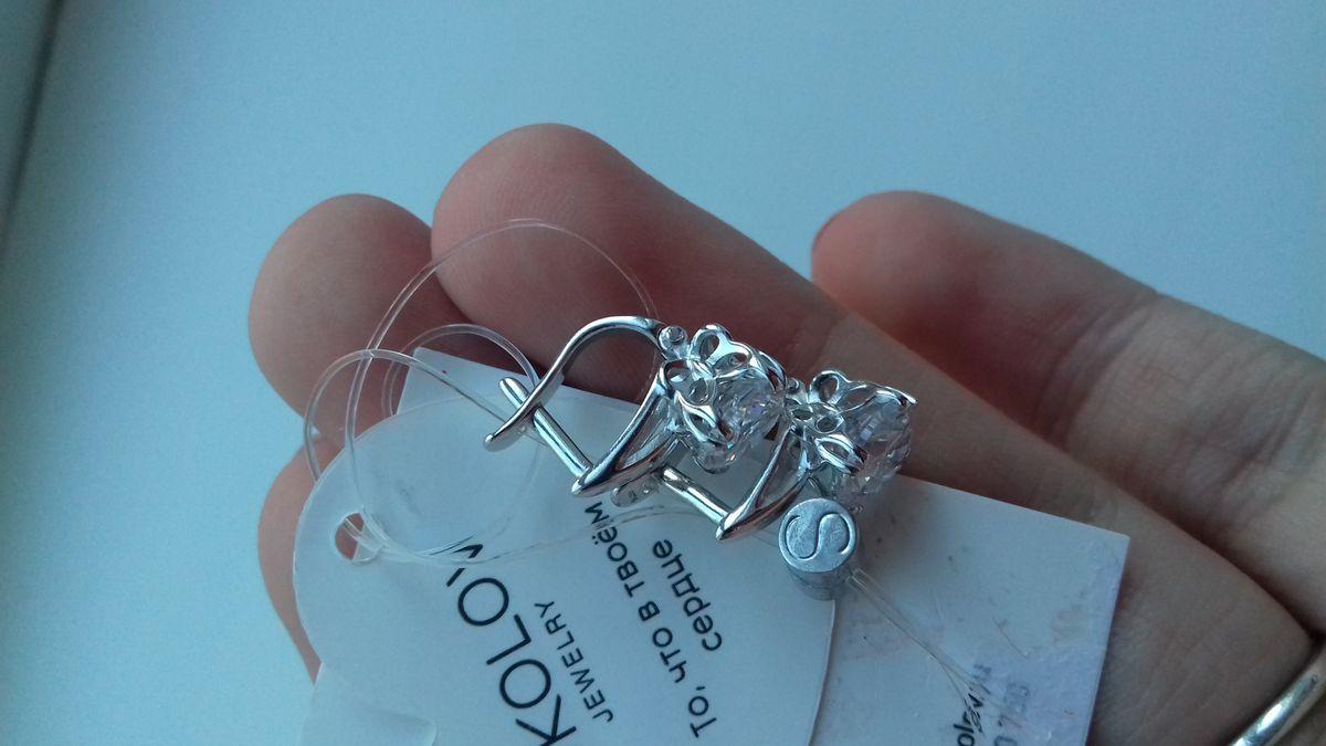 Серебряные серьги с застёжкой sokolov😍
