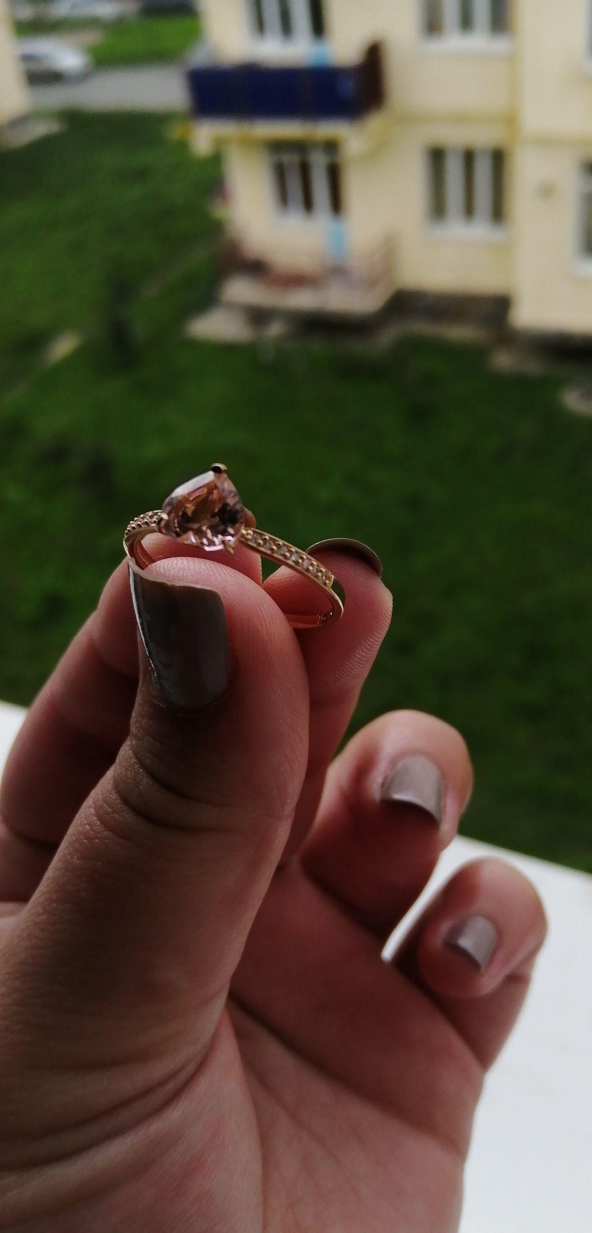 Кольцо с розовым сердцем