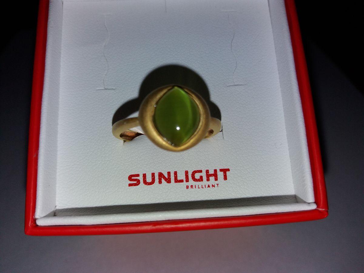 Серебряное кольцо с позолотой и кошачим глазом
