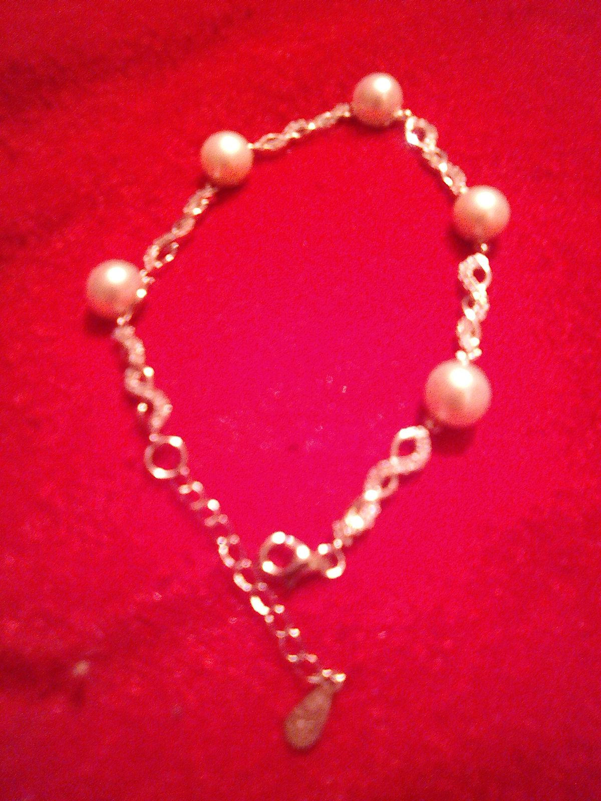 Мой прекрасный серебряный браслет с жемчугом и фианитами