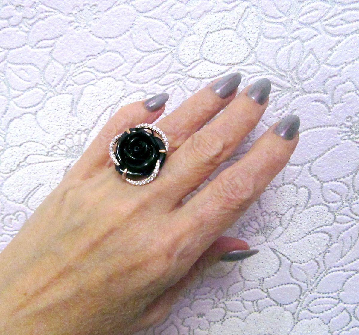 Кольцо с фианитом и агатом