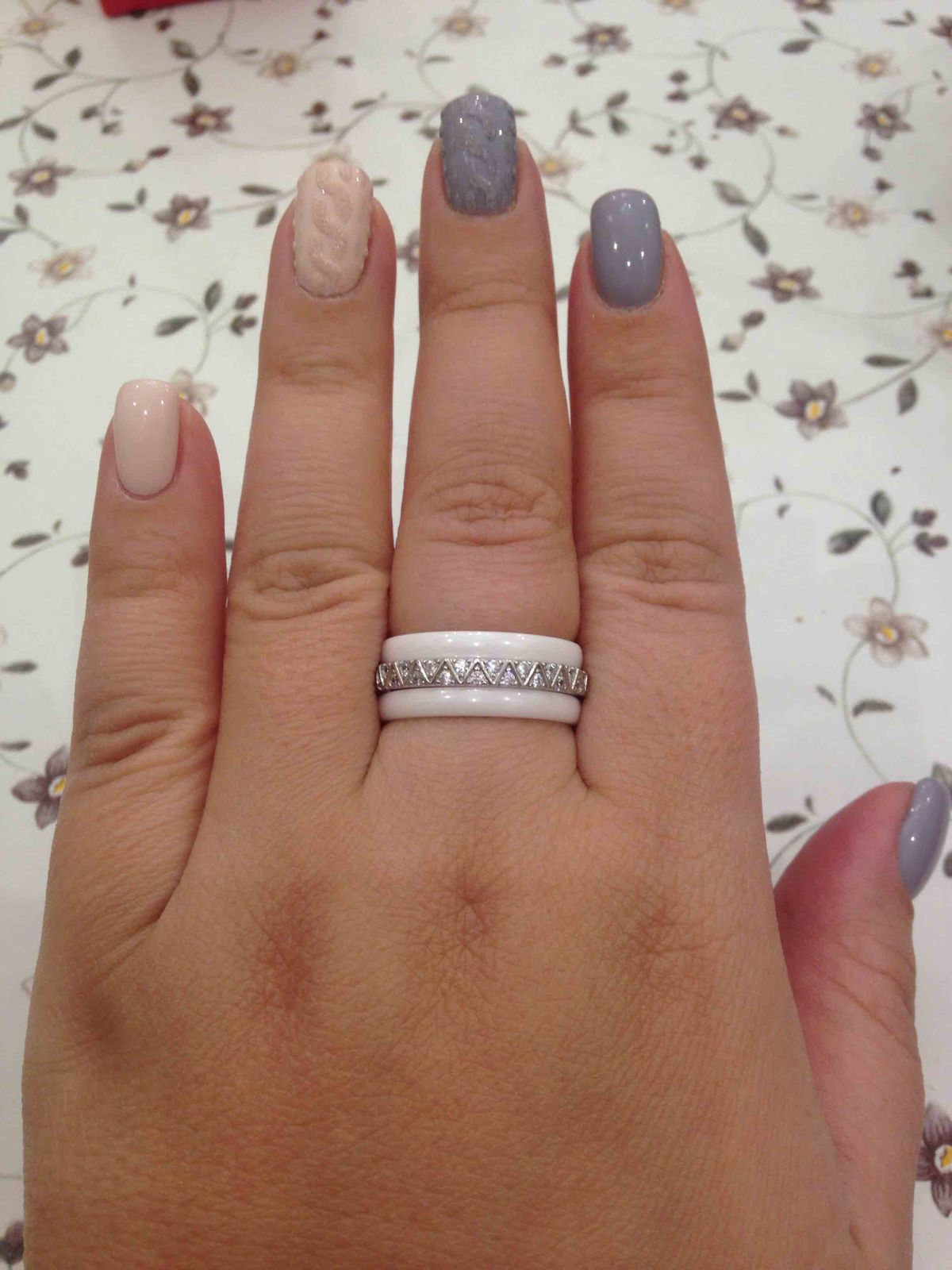 Кольцо серебро-керамика